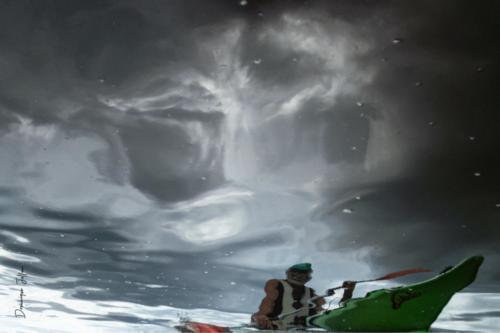 Magie des reflets. Rando Kayak, ciel menaçant.
